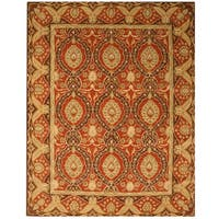 Hand-tufted Wool Red Traditional Oriental Khyber Rug (7'9 x 9'9) - 7'9 x 9'9