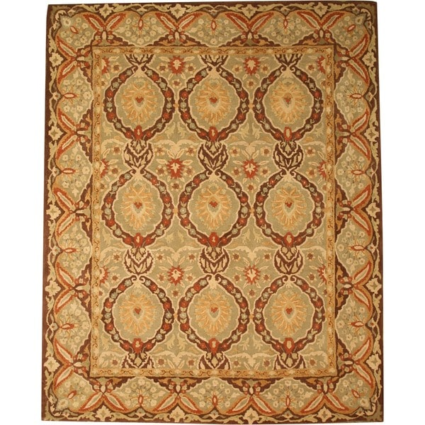 Hand-tufted Wool Green Traditional Oriental Twisted Royal Kabul Rug (7'9 x 9'9)