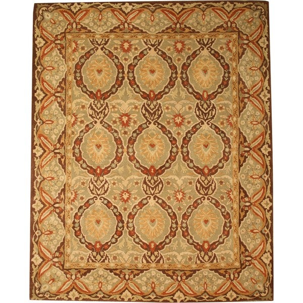 EORC Hand-tufted Wool Green Twisted Royal Kabul Rug (7'9 x 9'9)