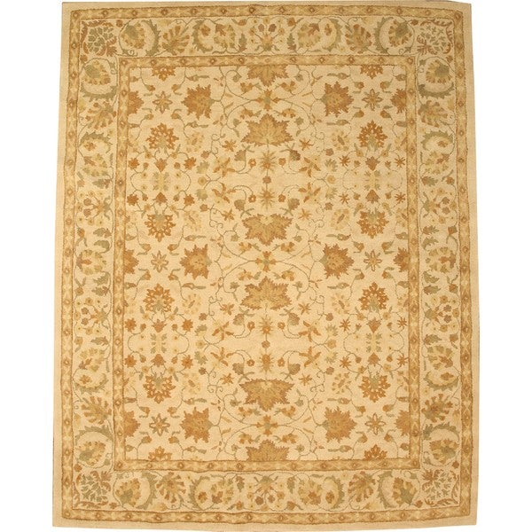Hand-tufted Wool Ivory Traditional Oriental Twisted Chobi Rug (7'9 x 9'9)