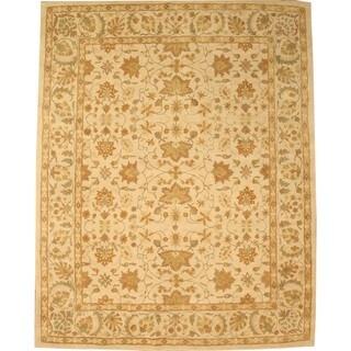 Hand-tufted Wool Ivory Traditional Oriental Twisted Chobi Rug (7'9 x 9'9)