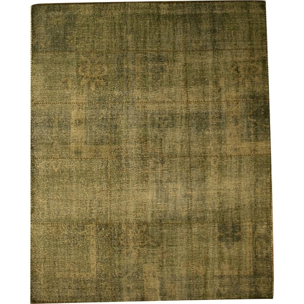 Hand-knotted Wool Green Traditional Oriental Green Over Dyed Rug (6' x 9')