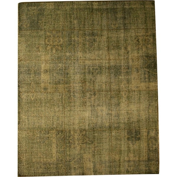 EORC Hand Knotted Wool Green Green Over Dyed Rug (8' x 10')
