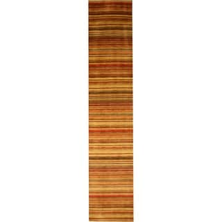 Handmade Wool Transitional Stripe Lori Toni Rug (2'6 x 10')