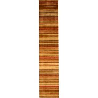 Handmade Wool Transitional Stripe Lori Toni Rug - 2'6 x 10'
