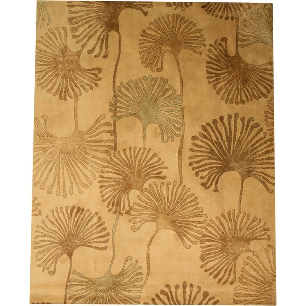 Hand-tufted Wool & Viscose Beige Contemporary Abstract Sonalo Rug (8' x 10')