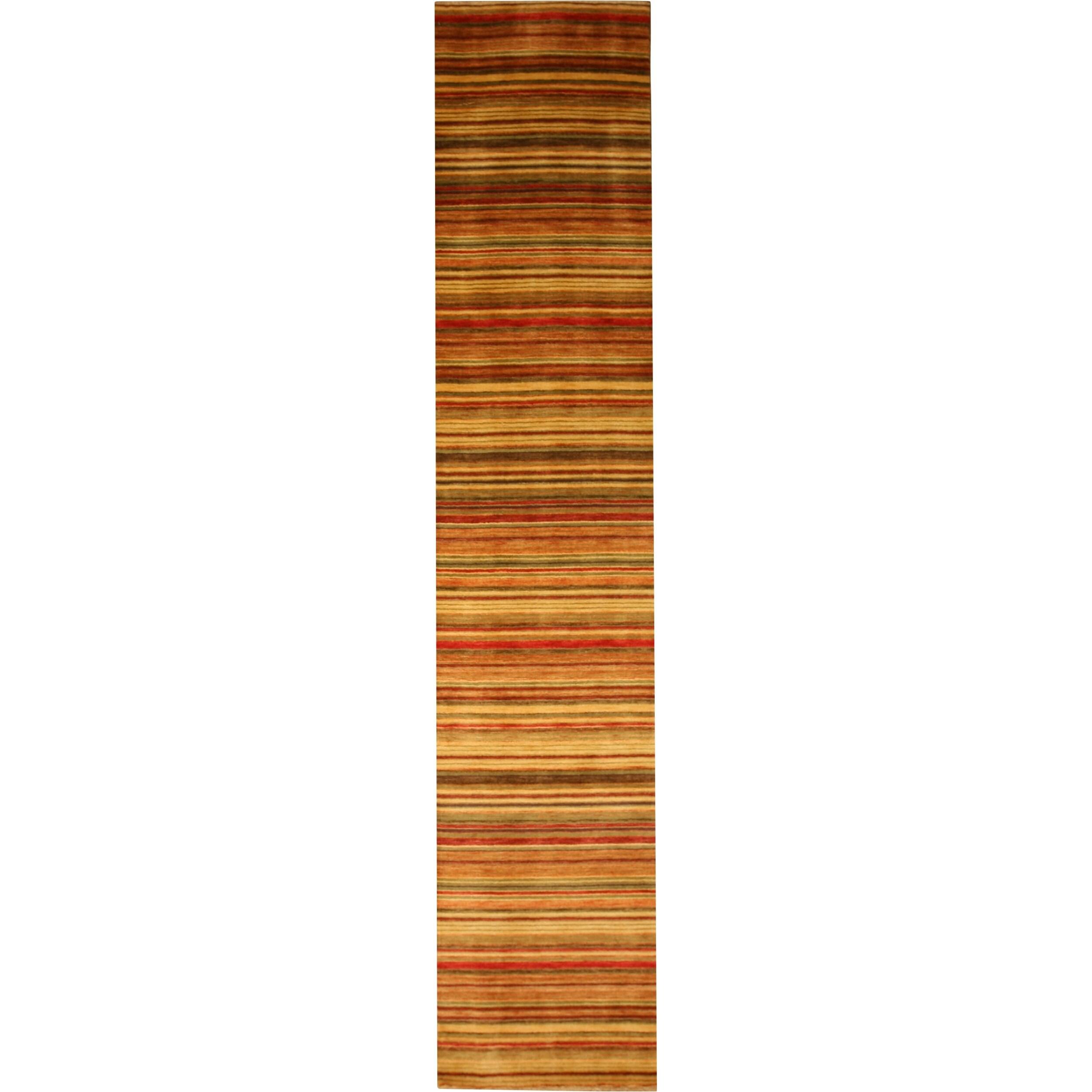 Handmade Wool Transitional Stripe Lori Toni Rug - 2 x 6 (2 x 6)