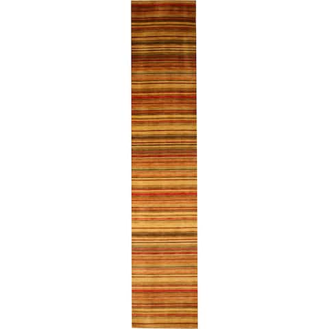 "Handmade Wool Transitional Stripe Lori Toni Rug - 2'6"" x 8'"