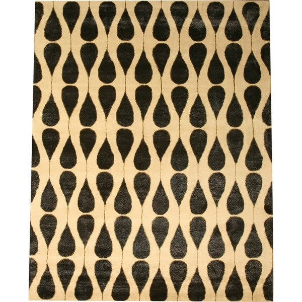 Hand-tufted Wool & Viscose Ivory Contemporary Abstract Lucinda Rug (9' x 12')