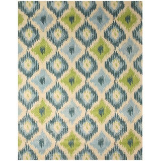 Hand-tufted Wool Ivory Contemporary Abstract Seagrass Ikat Rug (7'9 x 9'9)