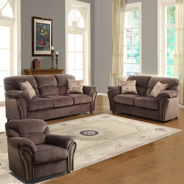 Evette Chocolate Microfiber 3 Piece Sofa Set Free