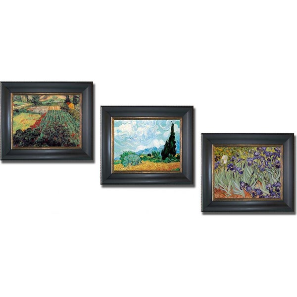 Vincent Van Gogh 'Poppies, Wheatfield, and Iris Garden' Framed 3-piece Canvas Art Set