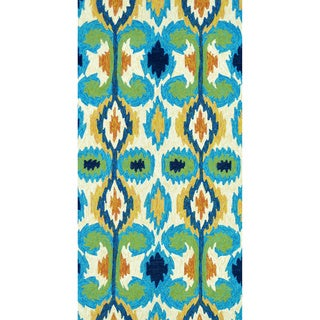 Indoor/ Outdoor Hand-hooked Portia Ivory/ Green Rug (2'3 x 3'9)