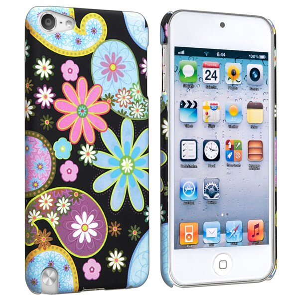 Insten Colorful Flowers Hard Snap-on Rubberized Matte Case Cover For Apple iPod Touch 5th/ 6th Gen