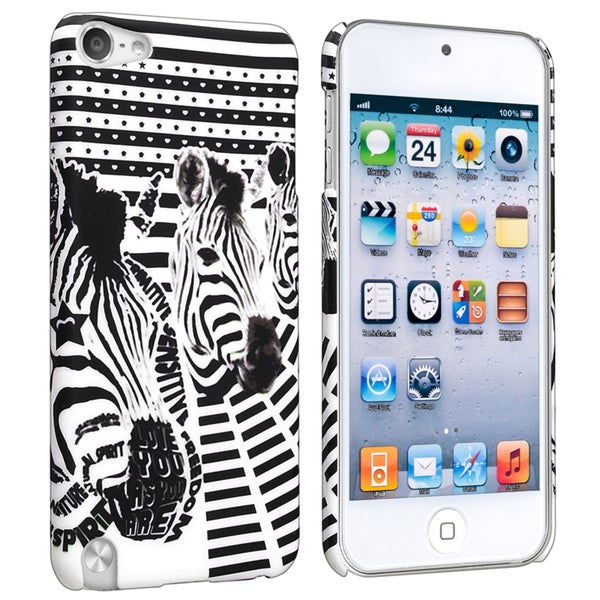 INSTEN Zebra Head Rubber Coated iPod Case Cover for Apple iPod Touch Generation 5