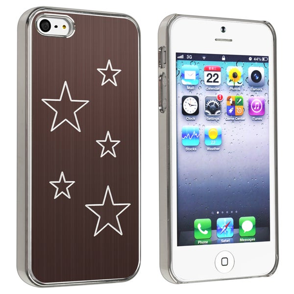 BasAcc Brown Aluminum Star Rear Rubber Coated Case for Apple iPhone 5