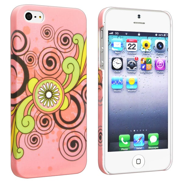 INSTEN Flower Rear Style 64 Rubber Coated Phone Case Cover for Apple iPhone 5/ 5S
