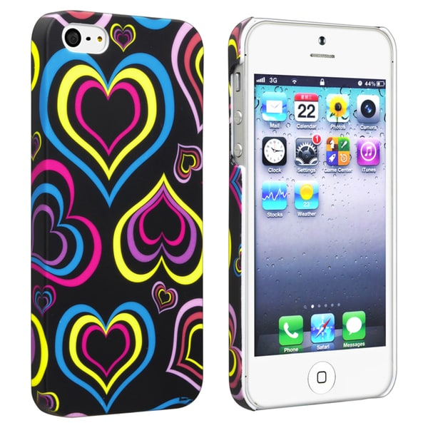 INSTEN Black/ Colorful Hearts Rubber Coated Phone Case Cover for Apple iPhone 5/ 5S