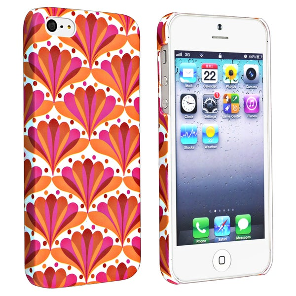 INSTEN Flower Style 66 Snap-on Rubber Coated Phone Case Cover for Apple iPhone 5/ 5S
