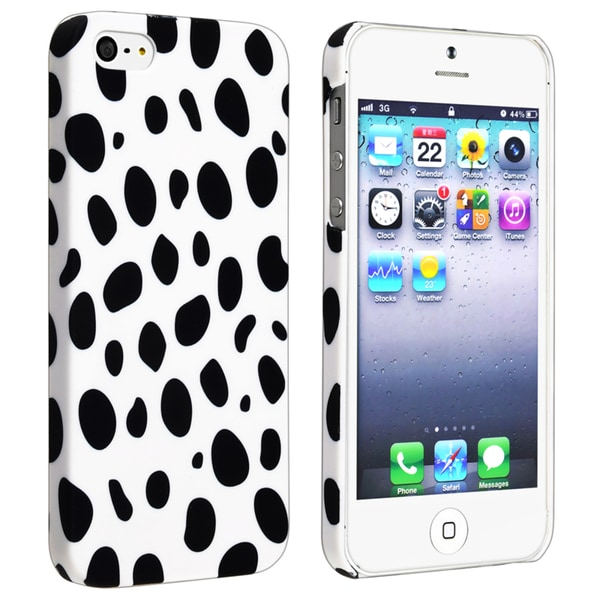 INSTEN White/ Black Dots Snap-on Rubber Coated Phone Case Cover for Apple iPhone 5