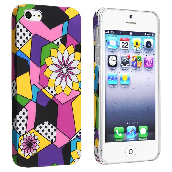 INSTEN Flower Style 57 Snap-on Rubber Coated Phone Case Cover for Apple iPhone 5/ 5S