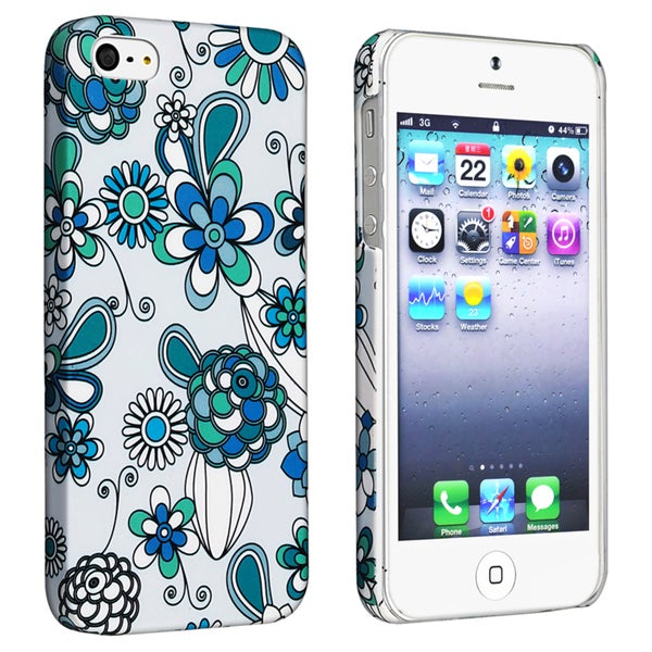 BasAcc Flower Style 56 Snap-on Rubber Coated Case for Apple iPhone 5