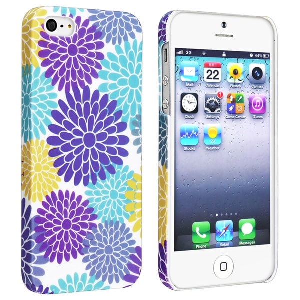 BasAcc Flower Style 53 Snap-on Rubber Coated Case for Apple iPhone 5