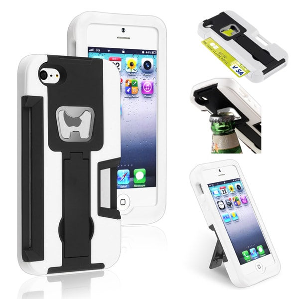 BasAcc Black/ Black Hybrid Case with Stand for Apple® iPhone 5