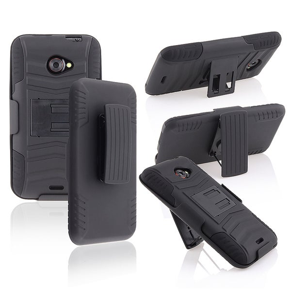 INSTEN Black/ Black Hybrid Phone Case Cover with Holster/ Stand for HTC EVO 4G LTE