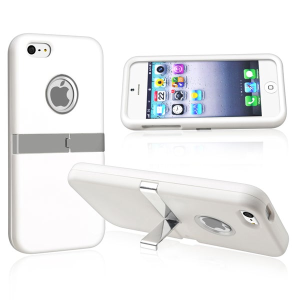 INSTEN White with Chrome Stand Snap-on Phone Case Cover for Apple iPhone 5