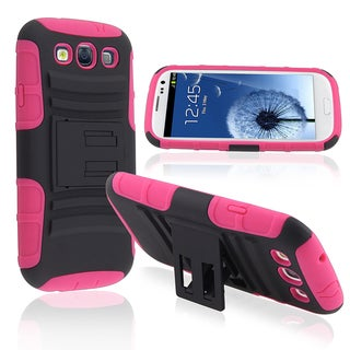 BasAcc Pink/ Black Hybrid Case with Stand for Samsung© Galaxy SIII/ S3
