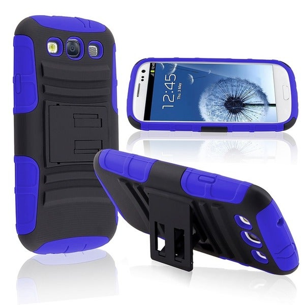BasAcc Blue/ Black Hybrid Case with Stand for Samsung Galaxy SIII/ S3