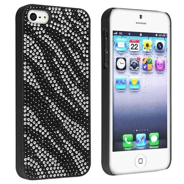 BasAcc Black/ White Zebra Bling Snap-on Case for Apple® iPhone 5