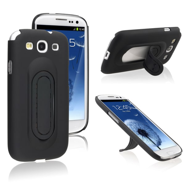 BasAcc Black Snap-on Case with Stand for Samsung Galaxy SIII / S3
