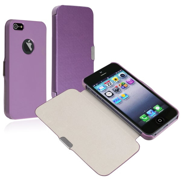 BasAcc Purple Leather Case with Magnetic Flap for Apple iPhone 5