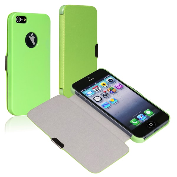 BasAcc Mint Green Leather Case with Magnetic Flap for Apple® iPhone 5