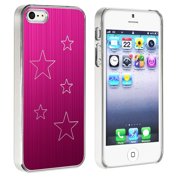 INSTEN Hot Pink Aluminum Star Snap-on Phone Case Cover for Apple iPhone 5/ 5S