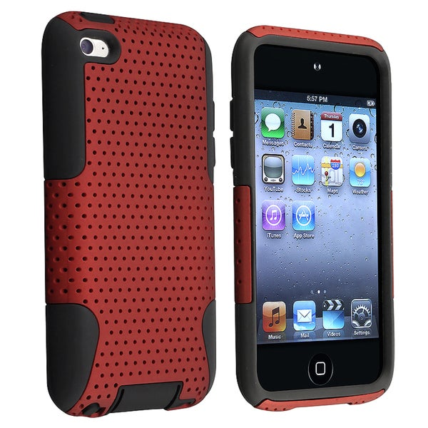 INSTEN Black Hybrid iPod Case Cover with Stand for Apple iPod touch Generation 4