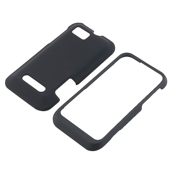 BasAcc Black Snap-on Rubber Coated Case for Motorola Defy XT XT556