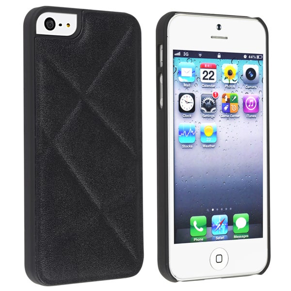 INSTEN Black Quilted Leather Snap-on Phone Case Cover for Apple iPhone 5