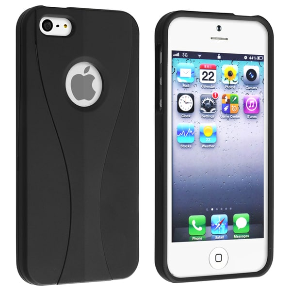 INSTEN Black/ Black Cup Shape Snap-on Phone Case Cover for Apple iPhone 5/ 5S