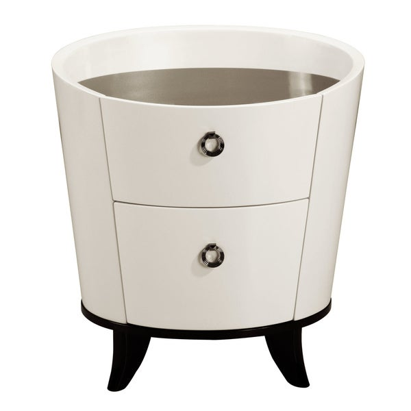 'Angelica' Beige Contemporary Rounded Nightstand