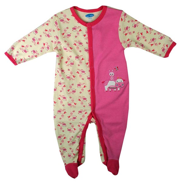 Bon Bebe Newborn Girl's Dark Pink Rabbit Coverall