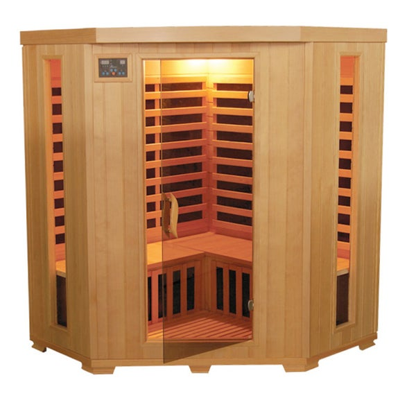 Mountain Ridge 'TheraPure' Hemlock 3-Person Sauna w/ Carbon Heater and Sound System
