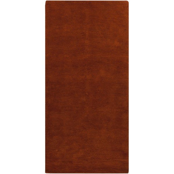 Rust Orange Handwoven Plush Shag New Zealand Wool Rug (2'6 x 8')