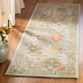 Safavieh Handmade Diamonds Bakhtiari Light Blue/ Light Brown Wool Rug