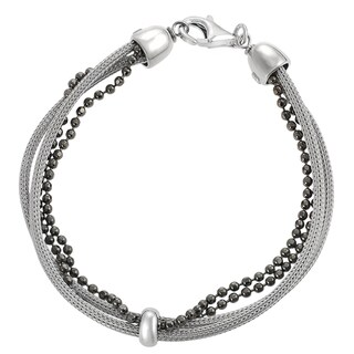 Journee Collection Rhodium-plated Sterling Silver Diamond-cut Ball Mesh Bracelet