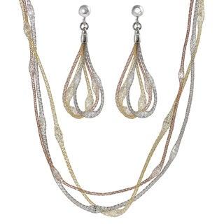 Journee Italian Silver Cubic Zirconia Stuffed Mesh Jewelry Set