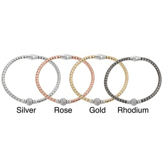 Journee Collection Plated Italian Sterling Silver Cubic Zirconia Magnet Clasp Bracelet