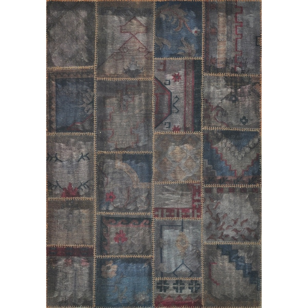 Hand-woven Ava Wool Pinecone Patchwork Rug